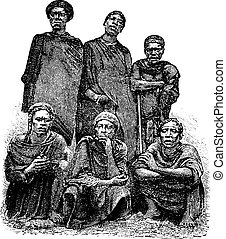 Grabado, central, Congo, vendimia, hombres, áfrica, mandombe...