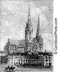 grabado, chartres, vendimia, chartres, francia, catedral,...