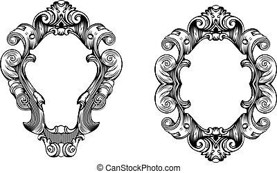grabado, dos, curvas, elegante, florido, marcos, barroco