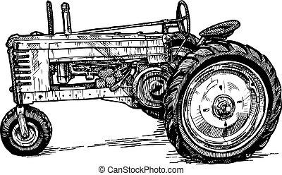 grabado, estilizado, vector, dibujo, tractor