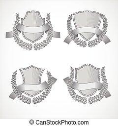 grabado, estilo, conjunto, elements., vector, coronas, diseño, ribbons., laurel, protectores