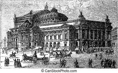 grabado, francia, 1800s, ópera, vendimia, parís, tarde,...