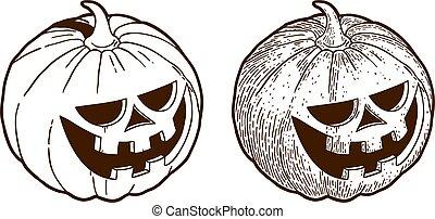 grabado, halloween, retro, monocromo, dibujo, calabaza
