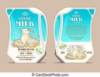 grabado, leche, jarra, forma, inclinación, ilustración,...