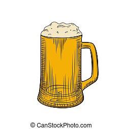 grabado, lleno, pilsner, foam., cerveza, mano, jarra, ...