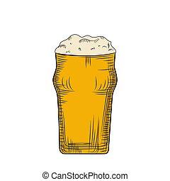 grabado, lleno, pilsner, foam., mano, vidrio, cerveza, ...