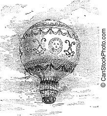 grabado, montgolfier, globo, vendimia, aire, caliente