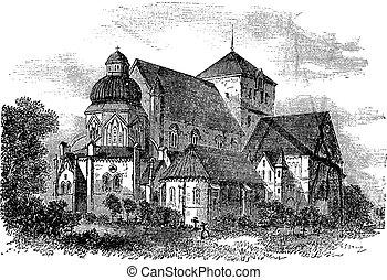 grabado, noruega, vendimia, trondheim, nidaros, catedral