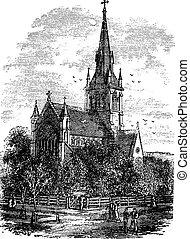 grabado, nuevo, iglesia, brunswick, cristo, catedral, ...
