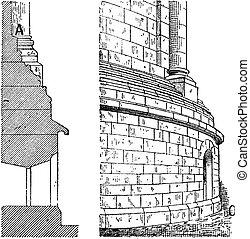 grabado, oriental, vendimia, chapitel, catedral, apse
