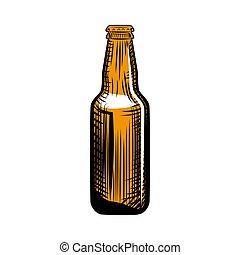 grabado, pilsner, aislado, ilustración, mano, cerveza, ...