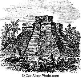 grabado, pirámide, méxico, vendimia, palenque, templo