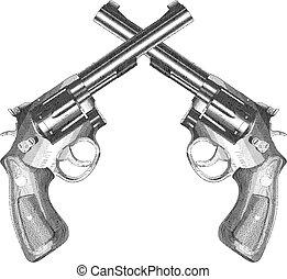 grabado, pistolas, cruzado, estilo