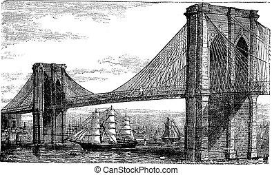 grabado, puente, unido, vendimia, states., ilustración, río...