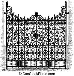 grabado, puertas, hierro forjado