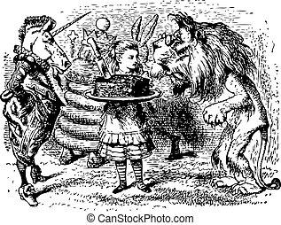 grabado, qué, allí, -, alice, espejo, león, libro, por, unicornio, fundar, original