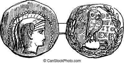 grabado, tetradrachm, vendimia, atenas, plata, moneda griega, o