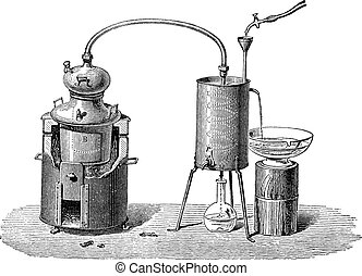 grabado, vendimia, aparato, destilación, todavía, o