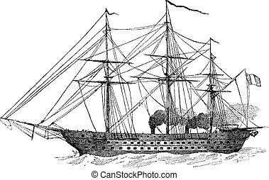 grabado, vendimia, barco, francés, napoleon