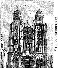 grabado, vendimia, dijon, francia, borgoña, catedral