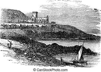 grabado, vendimia, escocia, abadía, c/, maría, iona, ruinas