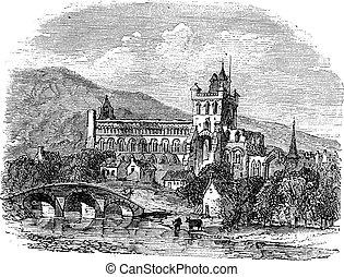 grabado, vendimia, escocia, abadía, jedburgh