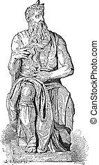 grabado, vendimia, estatua, moses