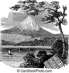 grabado, vendimia, monte fujiyama, japón
