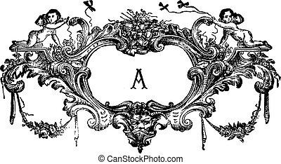 grabado, vendimia, querubines, ornamento, dos