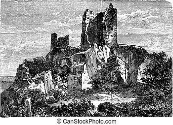 grabado, vendimia, ruina, drachenfels, castillo, palatinado...