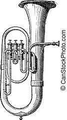 grabado, vendimia, saxhorn