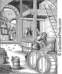 grabado, vendimia, tres, cervecero
