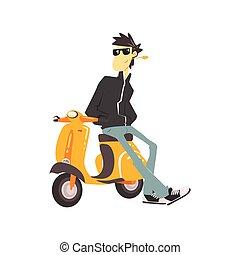 grabb, in, läderjacka, benägenhet på, sparkcykel