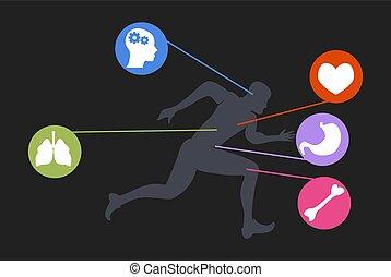 grabb, livsstil, joggning, spring, fitness, man, tecknad film, övning