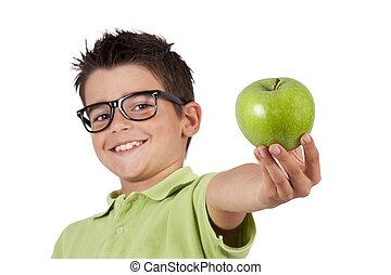 grabb, med, grönt äpple