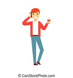 grabb, prata på tel, med, kaffe kopp, person, existens, direkt, alla, den, tid, besatt, med, grej