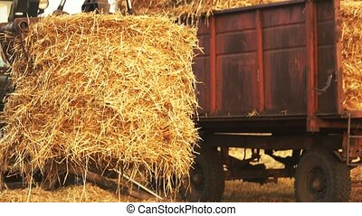Grabbing and folding hay. Tractor with fork grabber taking...