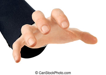 A male hand reaches greedily for something. Suitable for use in combination with any other object.