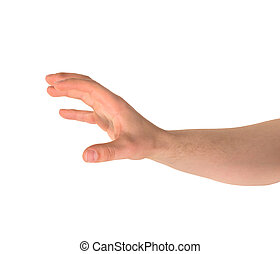 Grabbing hand gesture isolated - Reaching out and grabbing...