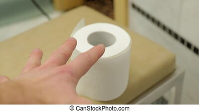 Toilet paper hard to reach extra roll, first person point of view vlogging on the toilet