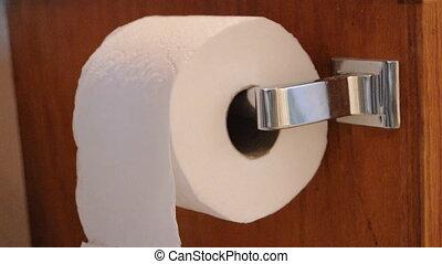 Grabbing Toilet Paper - Hands grab pieces off toilet paper...