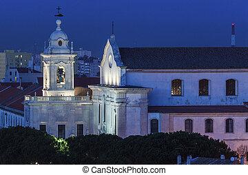 Graca Church in Lisbon seen at night. Lisbon, Portugal.