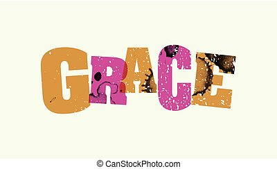 Grace Concept Stamped Word Art Illustration