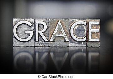 The word GRACE written in vintage letterpress lead type