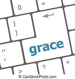 grace word on computer pc keyboard key