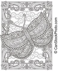 Graceful adult coloring page, magnificent moth with floral...