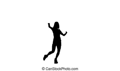 Elegant, slim, graceful, sexy woman dancing isolated on white background, slow motion, silhouette