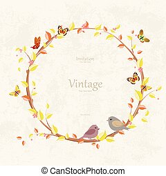 graceful autumn wreath and birds on grunge background for your d