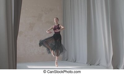 Graceful ballerina in a black transparent skirt against the ...