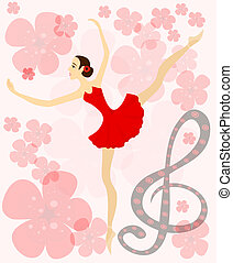 Graceful ballerina in red. Eps 10